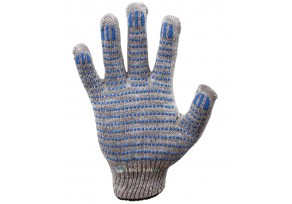 Перчатки 4 Нити, 10 класс Х/Б + ПВХ - Серые