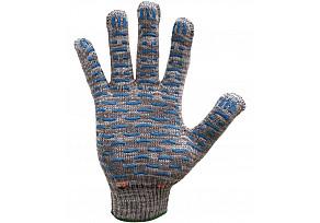 Перчатки 4 Нити, 10 Класс Х/Б + ПВХ (Волна) - Серые