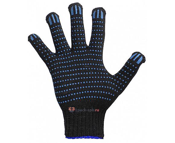 Перчатки хб черные- 6 Нитей 10 кл