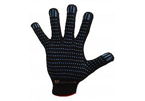 Перчатки 6 Нитей, 10 класс Х/Б + ПВХ - Черные