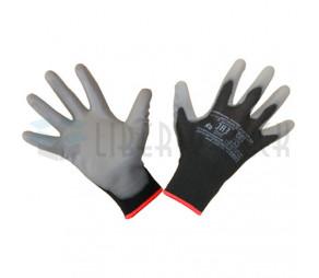 Перчатки нейлоновые черные с полиуретановым покрытием